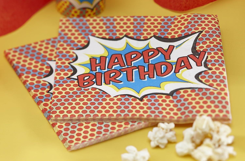 Ginger Ray feliz cumpleaños servilletas de papel - Pop Art ...