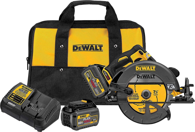 "DEWALT DCS575T2 FLEXVOLT 60V MAX Brushless Circular Saw with Brake and 2 Battery Kit, 7-1/4"""