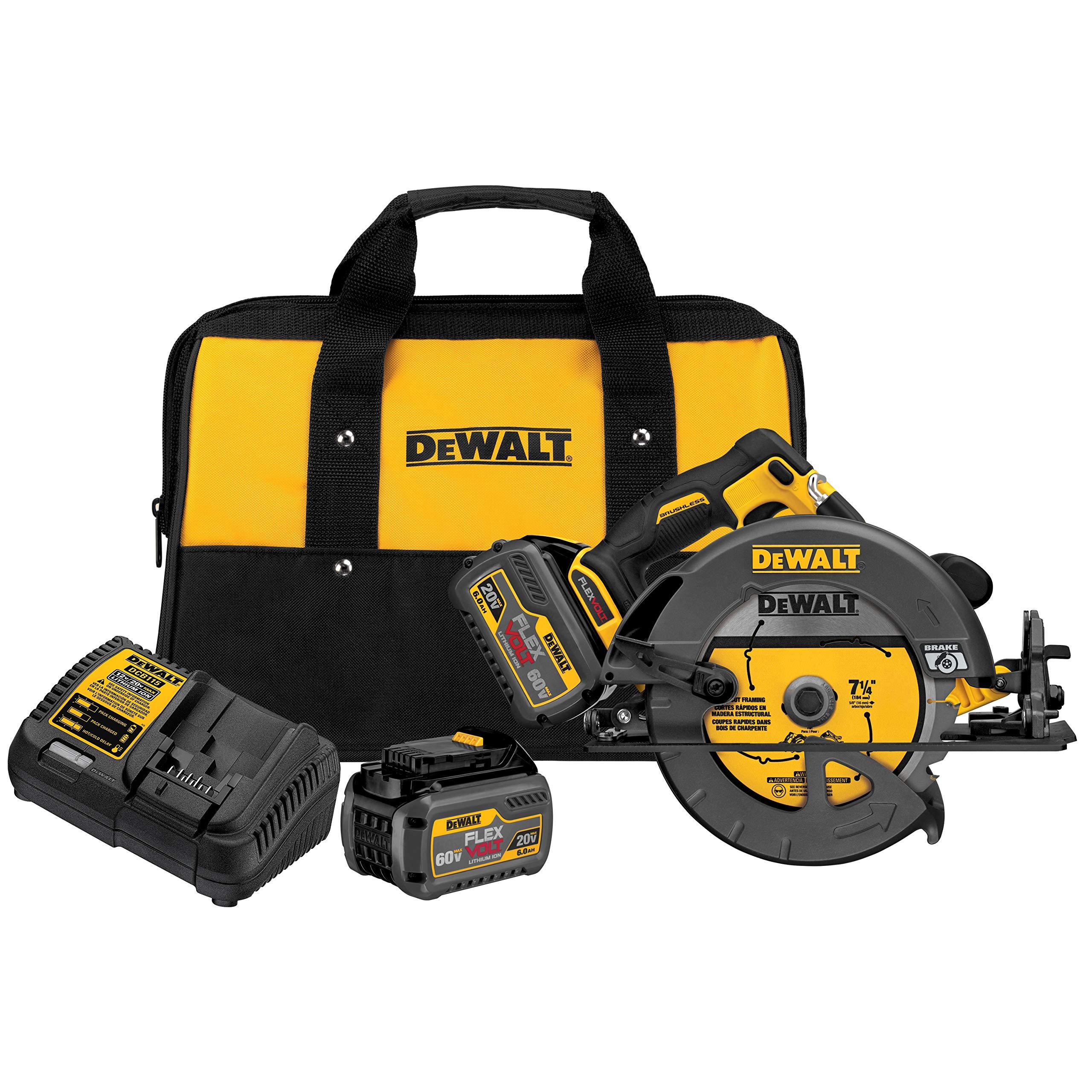 DEWALT DCS575T2 FLEXVOLT 60V MAX Brushless Circular Saw with Brake and 2 Battery Kit, 7-1/4''