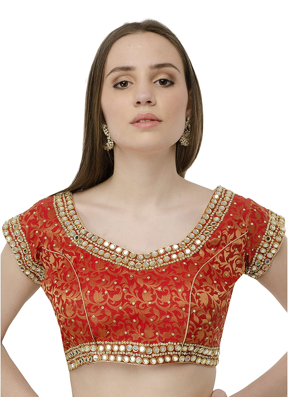 2ceee8e804ac93 naira coutur mirror work red latest designer partywear dupian silk  readymade padded saree blouse for women