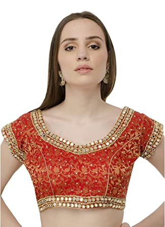 a448b2e17b Amazon.com: Naira Couture Mirror Work Red Latest Designer Partywear Dupian  Silk Readymade Padded Saree Blouse for Women (38): Clothing