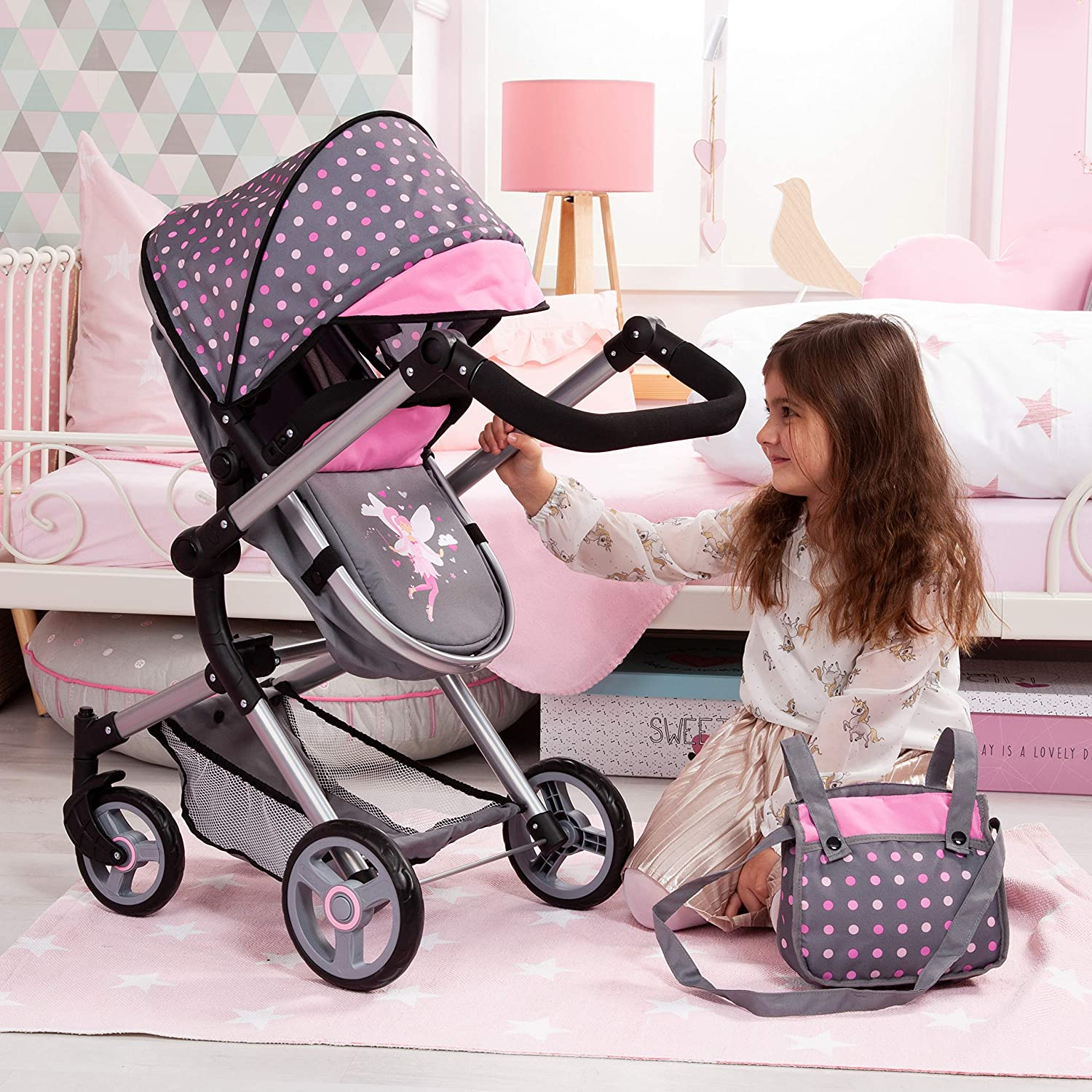 Amazon.com: Bayer Design 18466AA Stroller, Doll Combi Pram Neo Vario with Changing Bag and Underneath Shopping Basket, Foldable, Swivel Front Wheels, ...