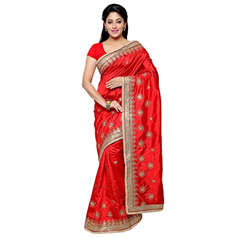 Chirag Sarees Designer Party Wear Red Embroidered Saree hellip; Sarees available at Amazon for Rs.1852
