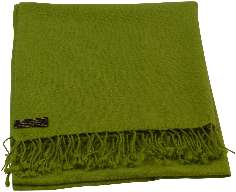 Green High Grade 100% Cashmere Shawl Pashmina Hand Made in Nepal CJ Apparel NEW