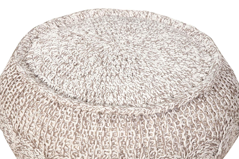 Resources POUFS99710GYN2012 M/élange Cable Knit Pouf Ottoman 12 x 20 Gray//Natural LR Resources L.R