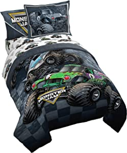 Monster Jam Slash 5 Piece Twin Bed Set - Includes Reversible Comforter & Sheet Set - Bedding Features Grave Digger & Megalodon - Super Soft Fade Resistant Microfiber - (Official Monster Jam Product)