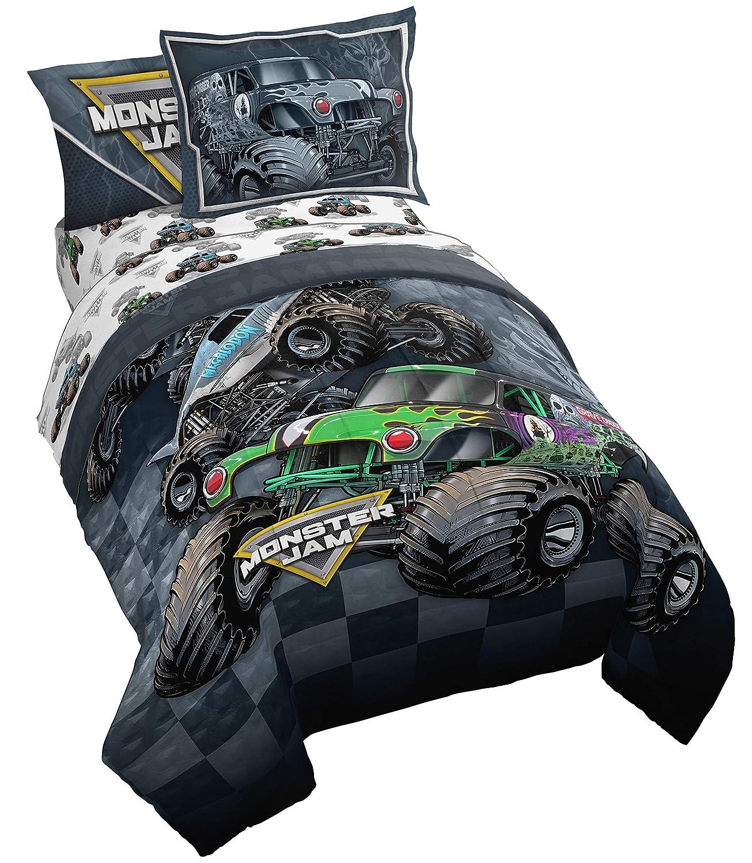 Monster Jam Slash 7 Piece Full Bed Set - Includes Reversible Comforter & Sheet Set - Bedding Features Grave Digger & Megalodon - Super Soft Fade Resistant Microfiber - (Official Monster Jam Product)
