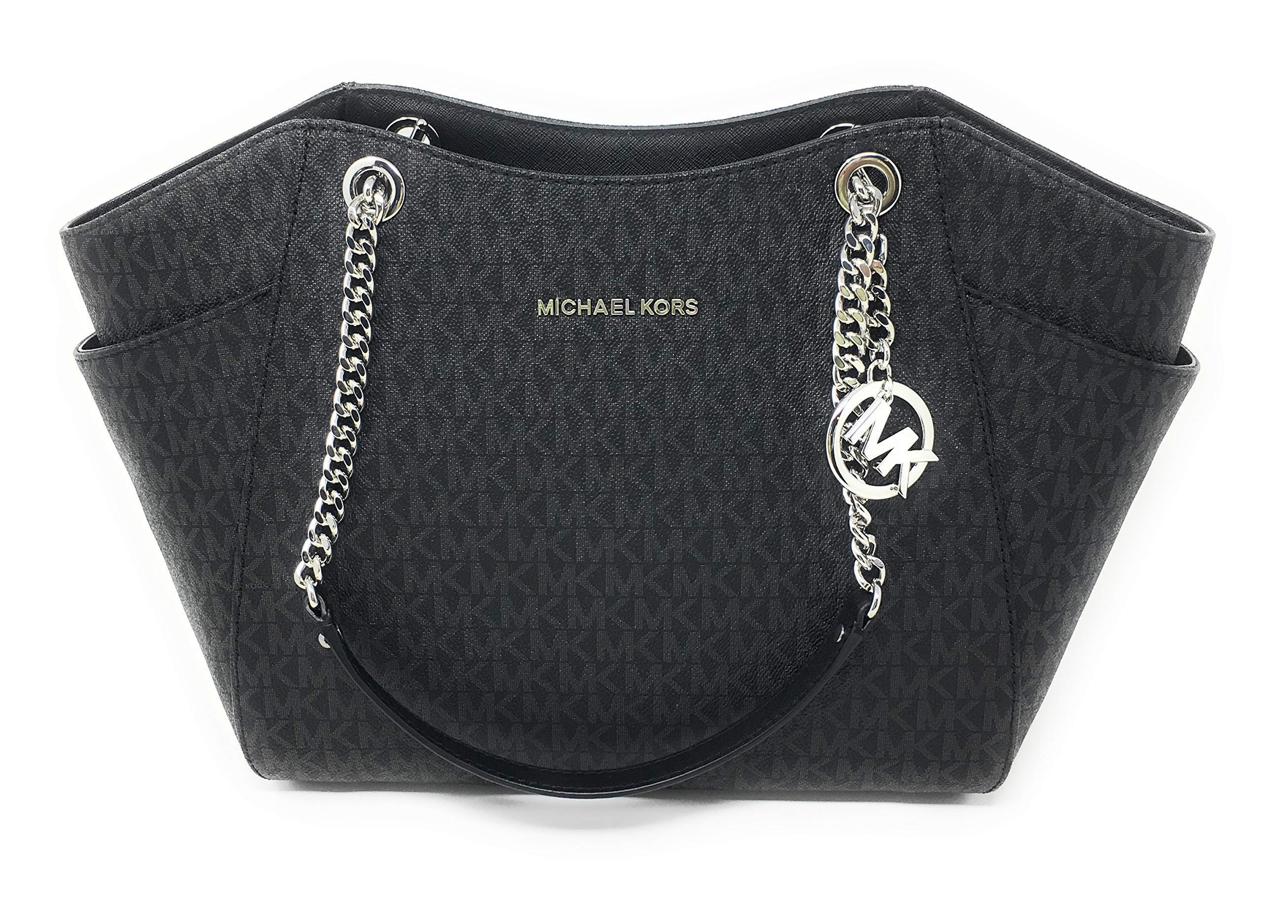 MICHAEL KORS SIGNATURE JET SET TRAVEL CHAIN SHOULDER TOTE BAG BLACK PVC by Michael Kors