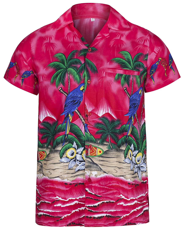 Mens Hawaiian Shirt Short Sleeve Parrot STAG Beach Holiday Bird Fancy Dress Hawaii - All Sizes HS5