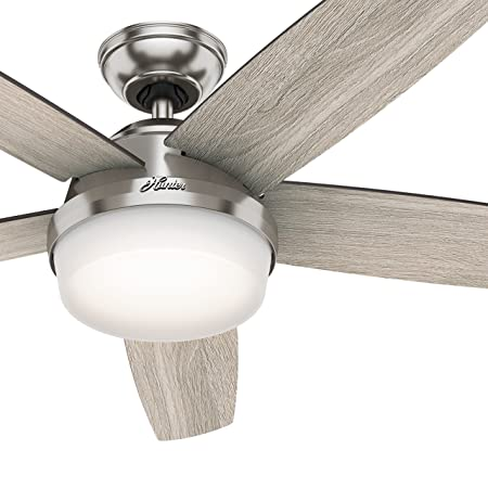 Hunter Fan 54 inch LED Indoor Brushed Nickel Ceiling Fan with Light and Remote Control Renewed