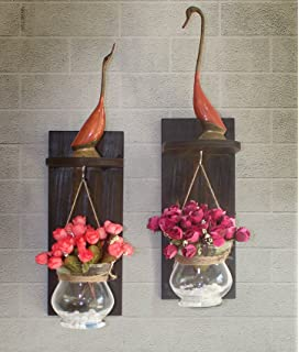 TiedRibbons® Wooden Wall Shelf With Flower Vase And Artificial Flowers Set  Of 2 For Living Part 38