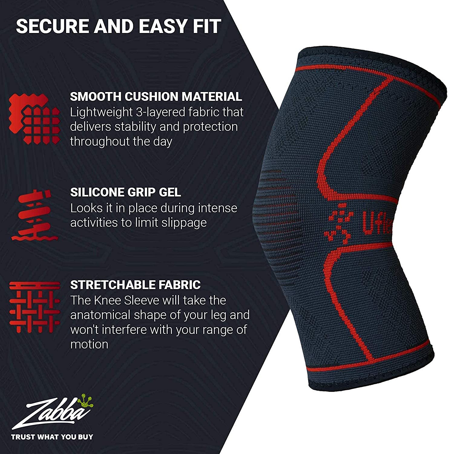 Knee Compression Sleeve for Men & Women - Knee Brace Support for Running, Jogging, Sports, Joint Pain Relief, Arthritis & Injury Recovery - Knee Braces for Knee Pain - Single Wrap Small: Industrial & Scientific