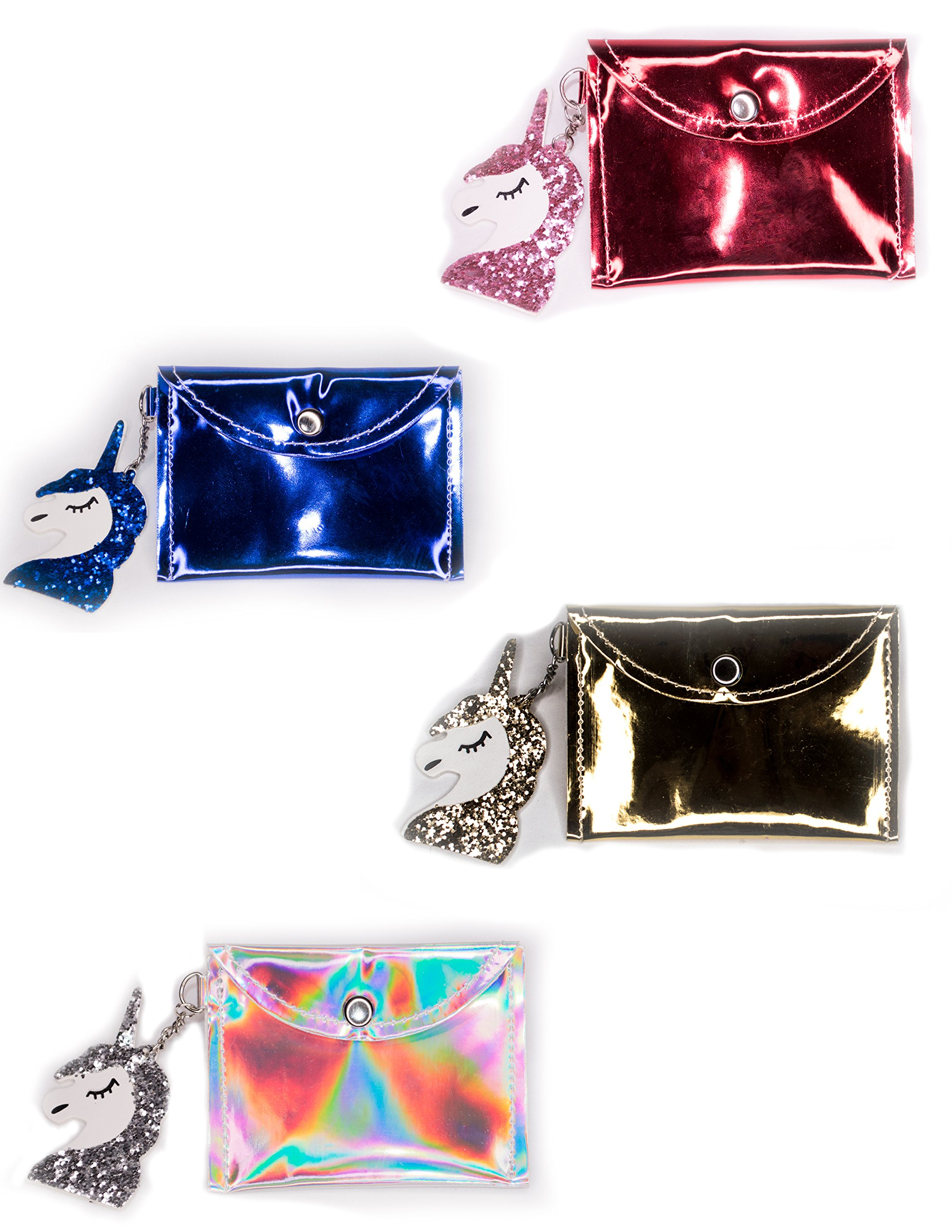 Coin Purse for Girls Unicorn, Holographic Unicorn Mini Sequin Wallet Coin Purse (4 Pack - Red, Blue, Holographic, Gold) by Rising Phoenix Industries