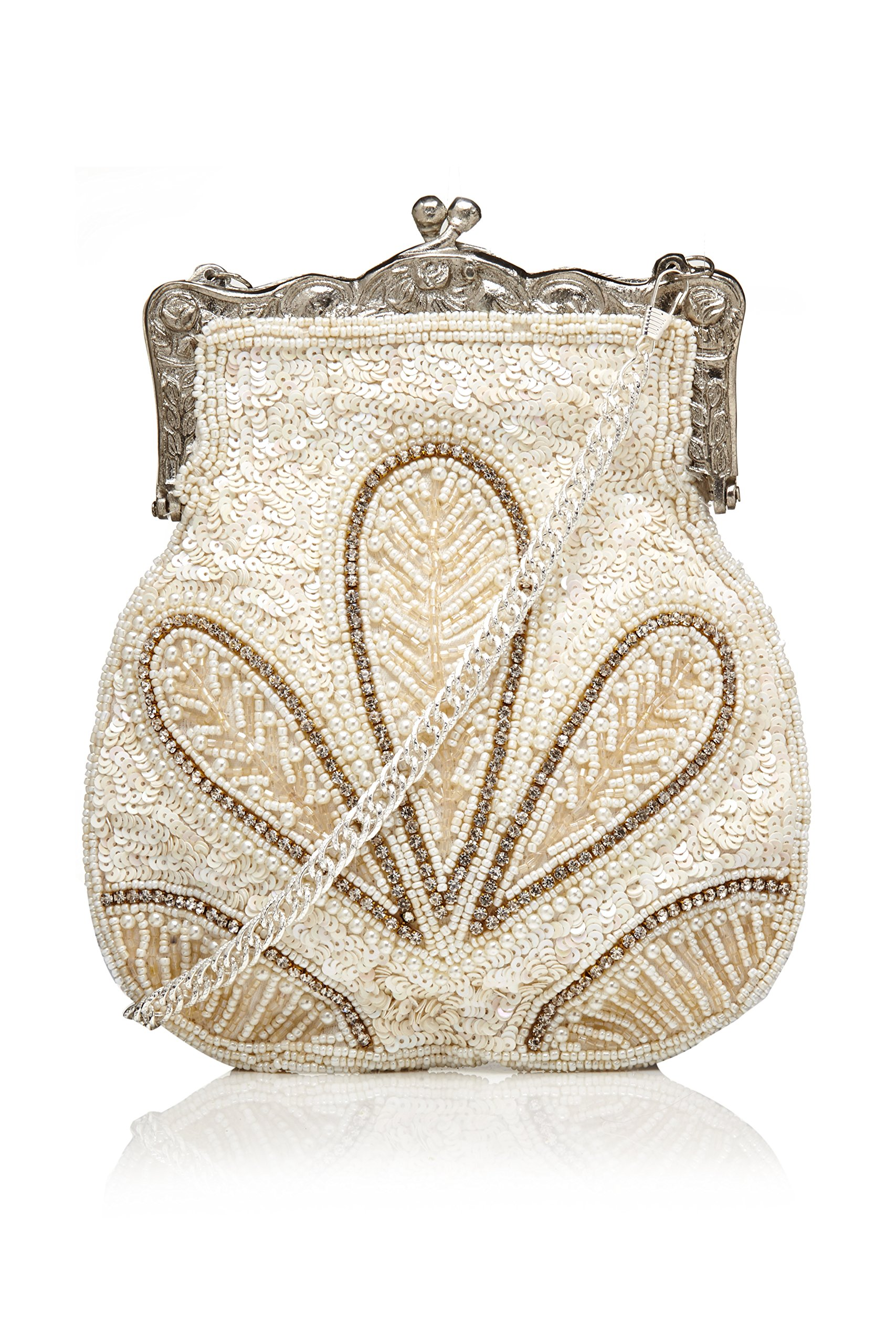 Dollie Vintage Inspired Hand Beaded Flapper Purse in Cream by gatsbylady london
