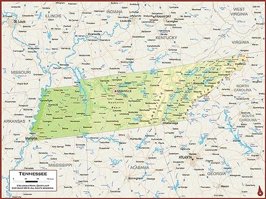Academia Mapas – Tennessee Estado mapa mural – Laminado totalmente ...