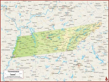 Amazon.com : Academia Maps - Tennessee State Wall Map - Fully ...