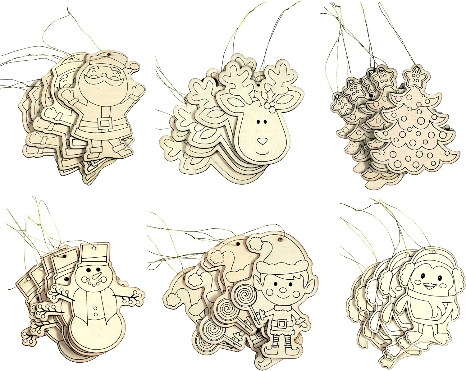 Creative Hobbies Kid Friendly DIY Holiday Christmas Themed Ornaments -Decorate Your Own - Contains 30 Ornaments Ready to Color or Paint