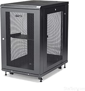 "StarTech.com 18U Server Rack Cabinet - 4-Post Adjustable Depth (2"" to 30"") Network Equipment Rack Enclosure w/Casters/Cable Management (RK1833BKM)"