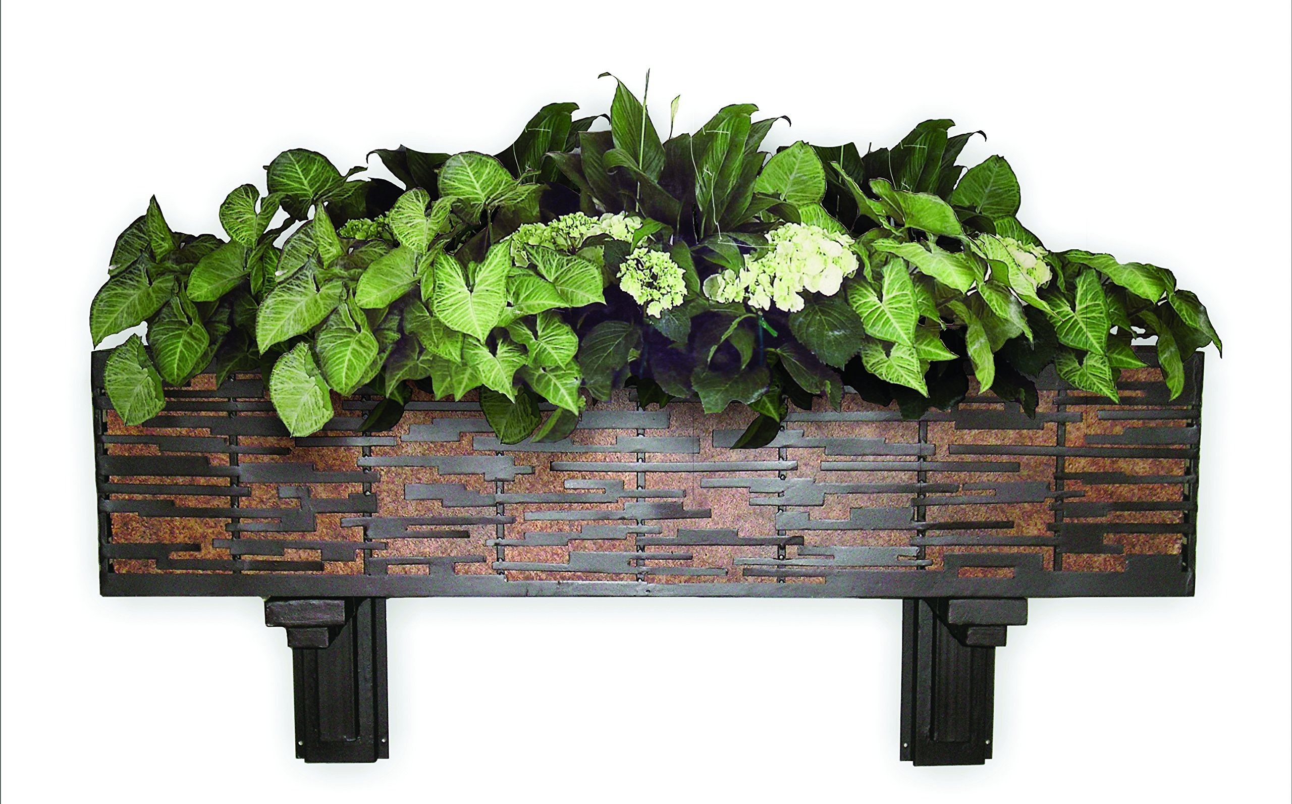 Dark Brown Iron Wall Planter with Brown Taupe Tole Liner