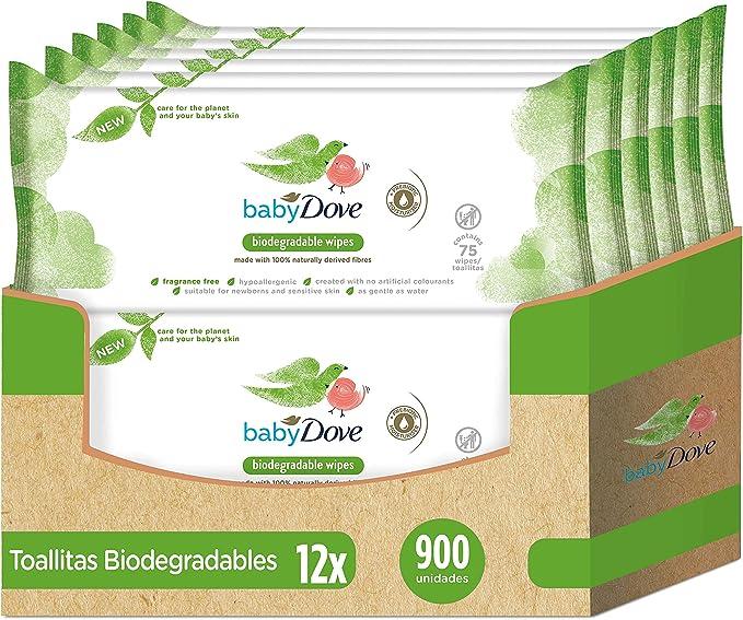 Baby Dove Toallitas Húmedas para bebés biodegradables - Pack de 12 ...