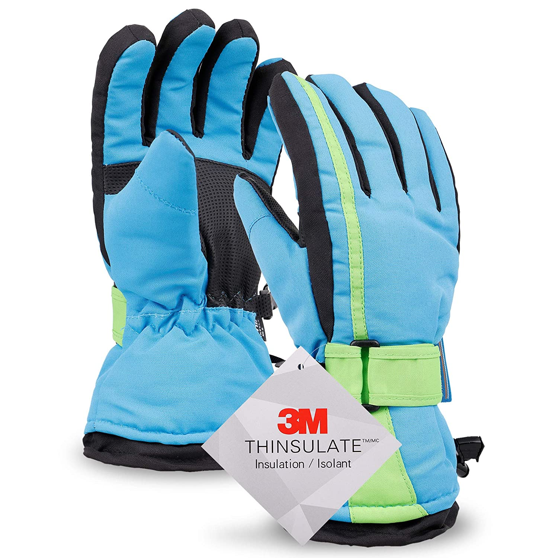 Girls Teal Blue Thinsulate Waterproof Ski /& Snowboarding Winter Gloves