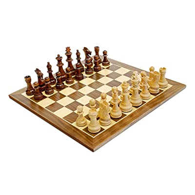 WE Games Traditional Staunton Wood Chess Set - 15 inch Distressed Wood Board - 3.75 inch King: Toys & Games