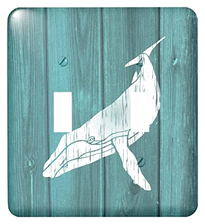 3dRose lsp_220427_2 Humpback Whale Stencil In Faded White Paint Over Teal- Not Real Wood -