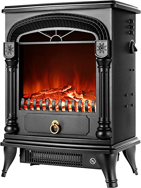 Vivohome 110v 20 Inch Portable Free Standing Electric Fireplace Insert Stove Heater With Realistic Log Flame Effect Kitchen Dining