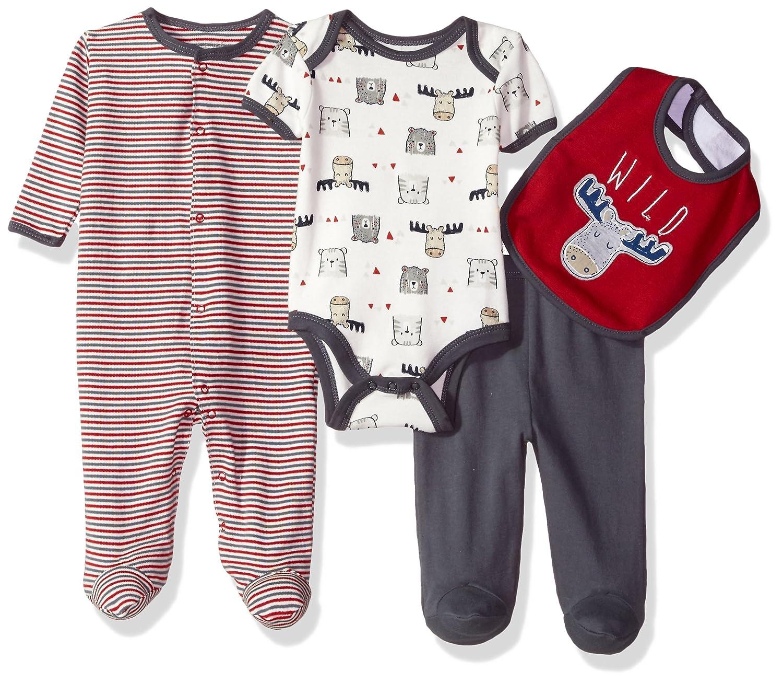 Rene Rofe Baby Baby Boys Little Kids Newborn 4 Pc Coverall Bodysuit,Pant /& Bib Set