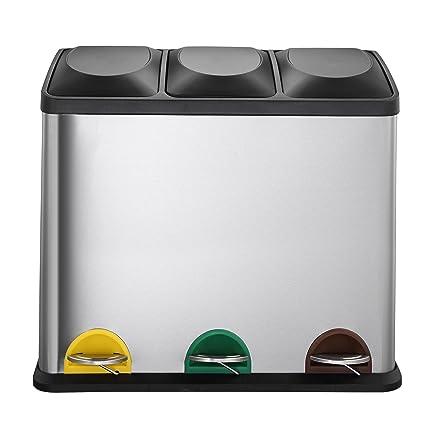 MARI HOME Cubo Basura Grande | Basurero Triple En Acero Inoxidable 54L Con 3 Compartimentos (18L X 3) | Para La Cocina, Oficina Y Hogar | Basura A ...