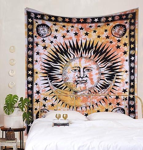 Light Yellow Hippie Mandala Pattern Tapestry Room Bedspread Art Wall Hanging