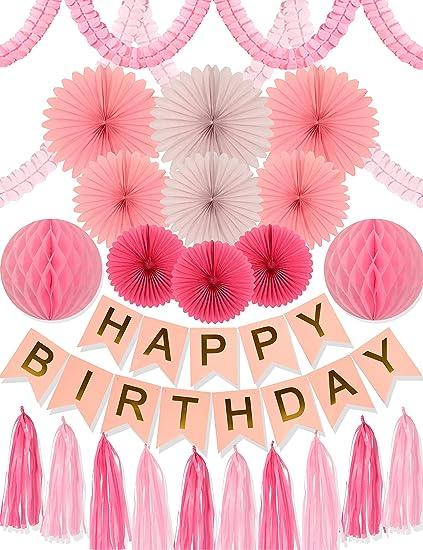Amazon.com: MEANT2TOBE Rosa cumpleaños fiesta decoración ...