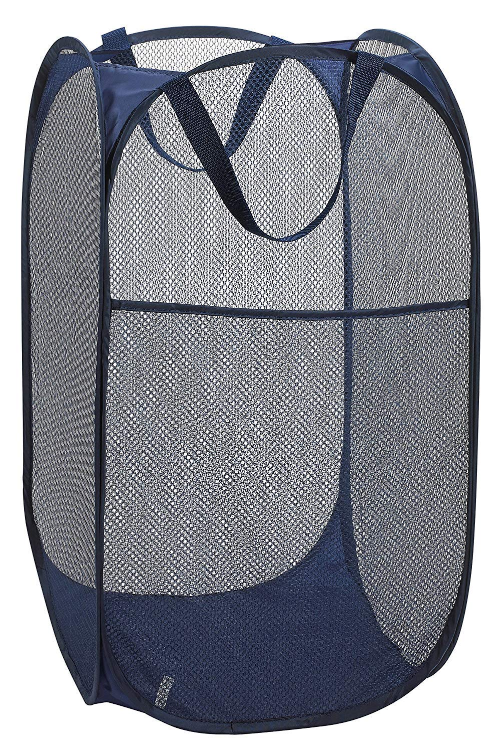 Mesh Popup Laundry Hamper - Portable, Durable Handles, Collapsible for Storage and Easy to Open. Folding Pop-Up Clothes Hampers are Great for The Kids Room, College Dorm or Travel. 1 GREAT FOR HOME OR TRAVEL: Use as a pop-up laundry hamper, toy basket or fold it flat for easy packing when on the go. STURDY MESH CONSTRUCTION: Durable mesh material allows air to circulate in order to eliminate moisture and odors. STORES FLAT: Twist the flexible lightweight frame on this pop up hamper to fold it flat for convenient storage.