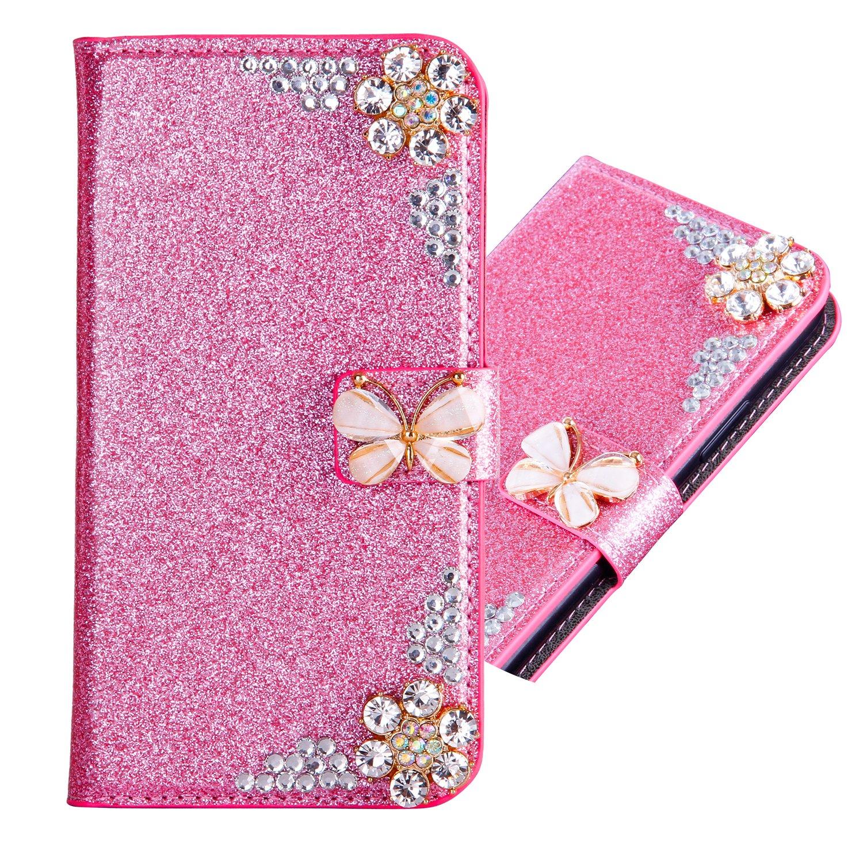 Mousseux Bling Glitter Diamant Flip Portefeuille pour Samsung A10