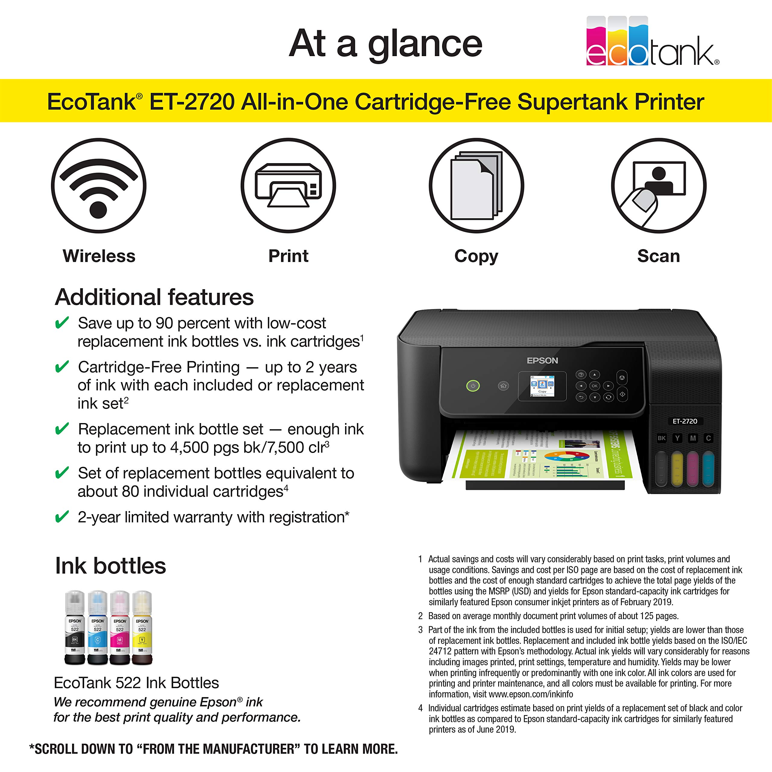 Epson EcoTank ET-2720 Wireless Color All-in-One Supertank Printer with Scanner and Copier - Black by Epson (Image #4)
