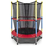 "Best Choice Products 55"" Round Kids Mini Trampoline w/ Enclosure Net Pad Rebounder Outdoor Exercise"