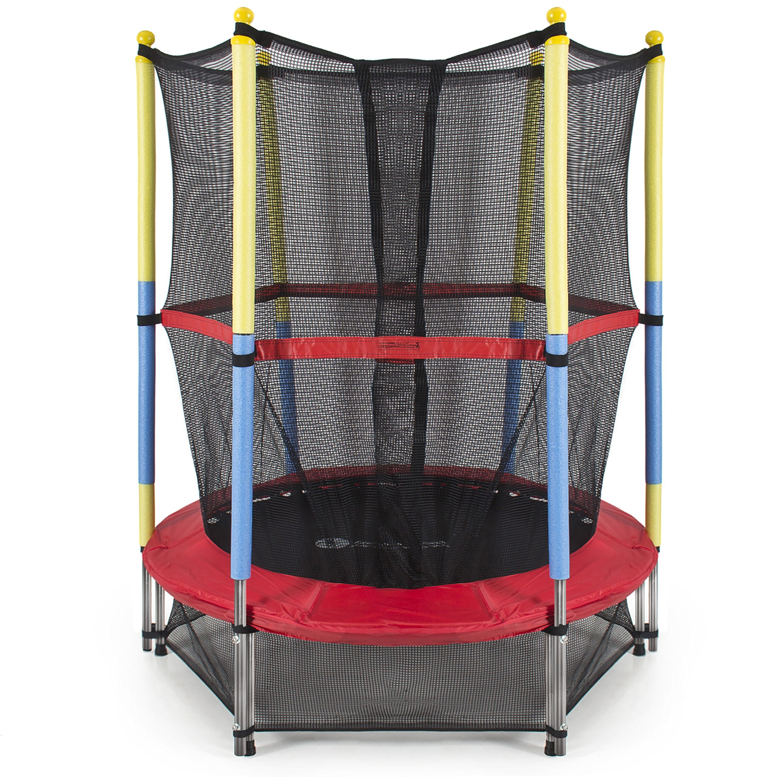 Best Choice Products 55'' Round Kids Mini Trampoline w/ Enclosure Net Pad Rebounder Outdoor Exercise