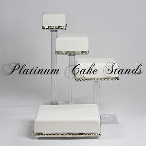 4 Tier Cascade Wedding Cake and Cupcake Stand Square (SQ415)