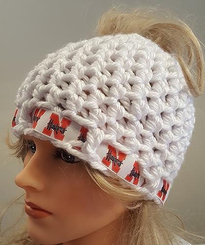 267c593fb80 Amazon.com  Crochet Nebraska Huskers bun hat. Made by Bead Gs. Ladies  Size.  Handmade