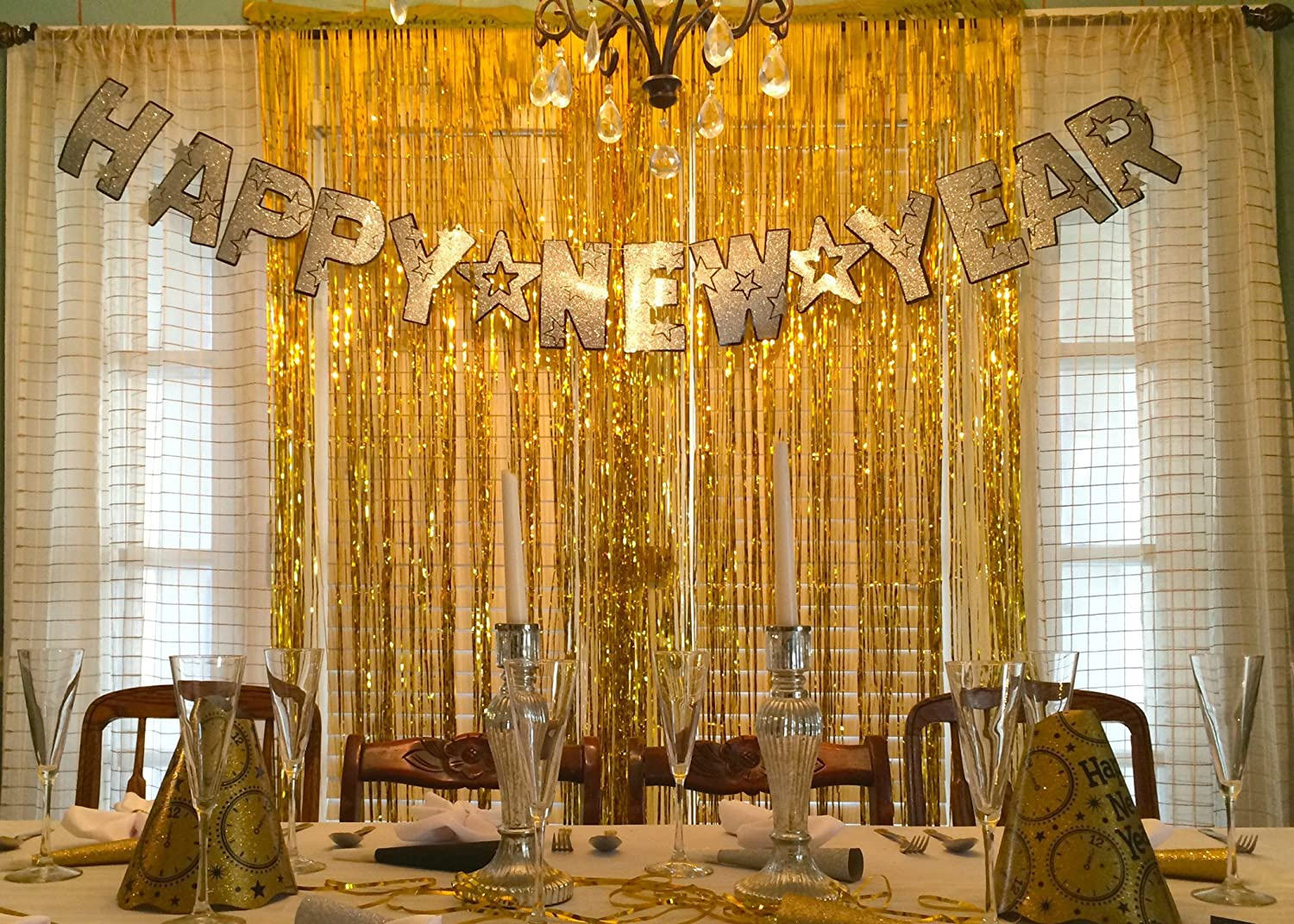 Com Gold Metallic Foil Party Tassel Curtain Fringe Wall Decoration Hanging 3 X 8 Coming Soon Kitchen Dining