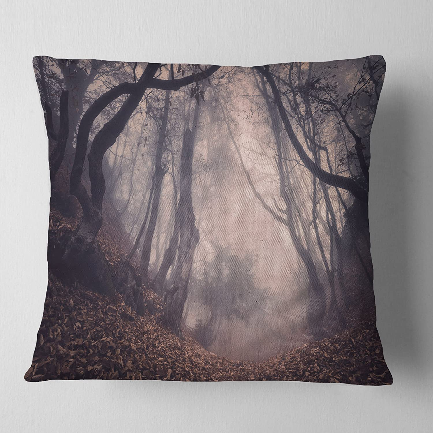 Designart CU8470-18-18 Vintage Foggy Forest Trees' Landscape Photography Cushion Cover for Living Room, Sofa Throw Pillow 18 in. x 18 in. in