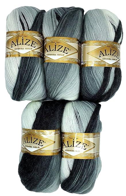 5 X 100 G Alize Strickwolle Farbverlauf Schwarz Grau Weiß Nr 1900