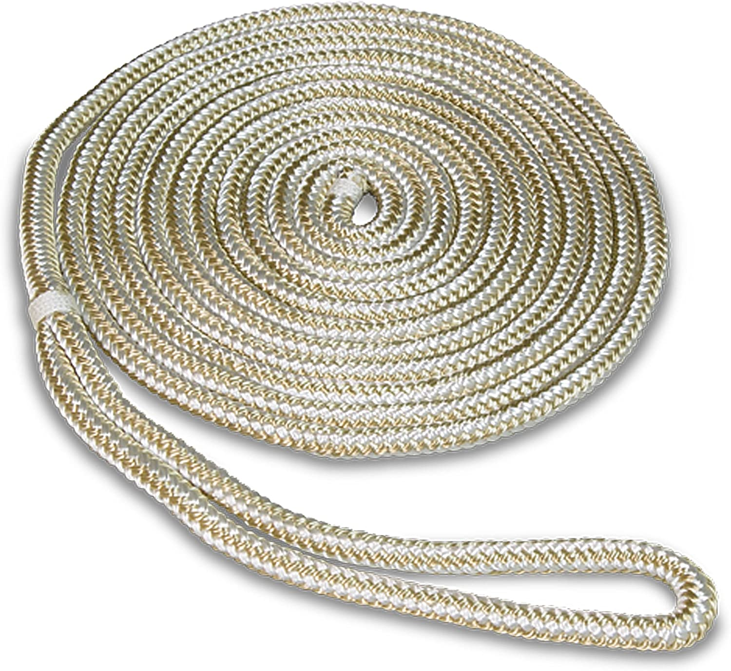 "White /& Gold Double Braided 3//8/"" in x 25/' ft HD Boat Marine Dock Line Ropes 4"