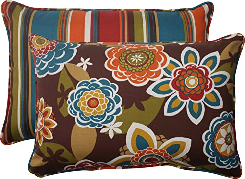 Pillow Perfect Outdoor Annie Westport Reversible Corded Oversized Rectangular Throw Pillow, Chocolate, Set of 2,Brown turquoise gold orange green,5 H x 16.5 W x 24.5 D
