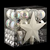ADDOBBI NATALIZI: Kit di 44 pezzi per albero di Natale - Ghirlande, palline e puntale - Tema cromatico: BIANCO e ARGENTO