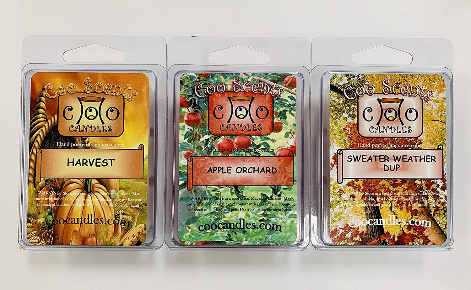 3 Pack Soy Blend Wickless Candles Winter Christmas or Autumn Wax Melts – Fall Harvest Pack - Sweater Weather, Harvest, and Apple Orchard!