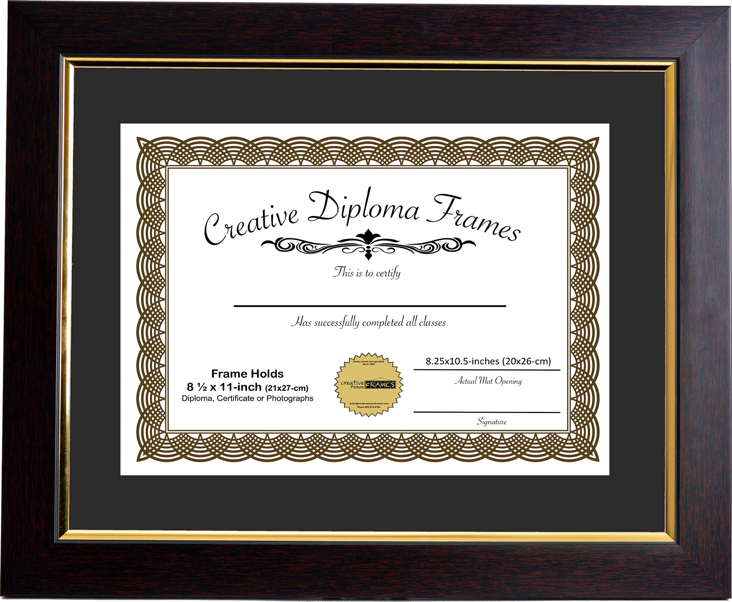 CreativePF [mhg024] 11x14-inch Matted Eco Mahogany Finish Diploma Frame Gold Lip with Black/White Core Mat Holds 8.5x11-inch Media, with Installed Hangers by Creative Picture Frames