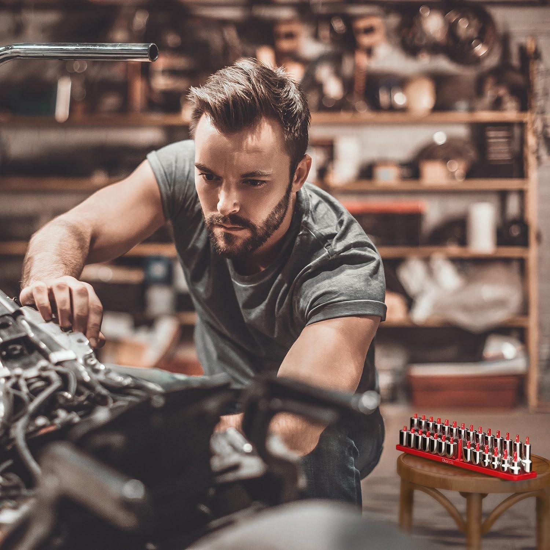 Premium Quality Tool Organizer 1//4-Inch Drive Olsa Tools Metric Socket Holder Tray Black
