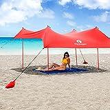Red Suricata Family Beach Sunshade - Sun Shade Canopy | UPF50 UV Protection | Tent with 4 Lightweight Aluminum Poles, 4 Sandbag Anchors | Large & Portable Shelter Tarp
