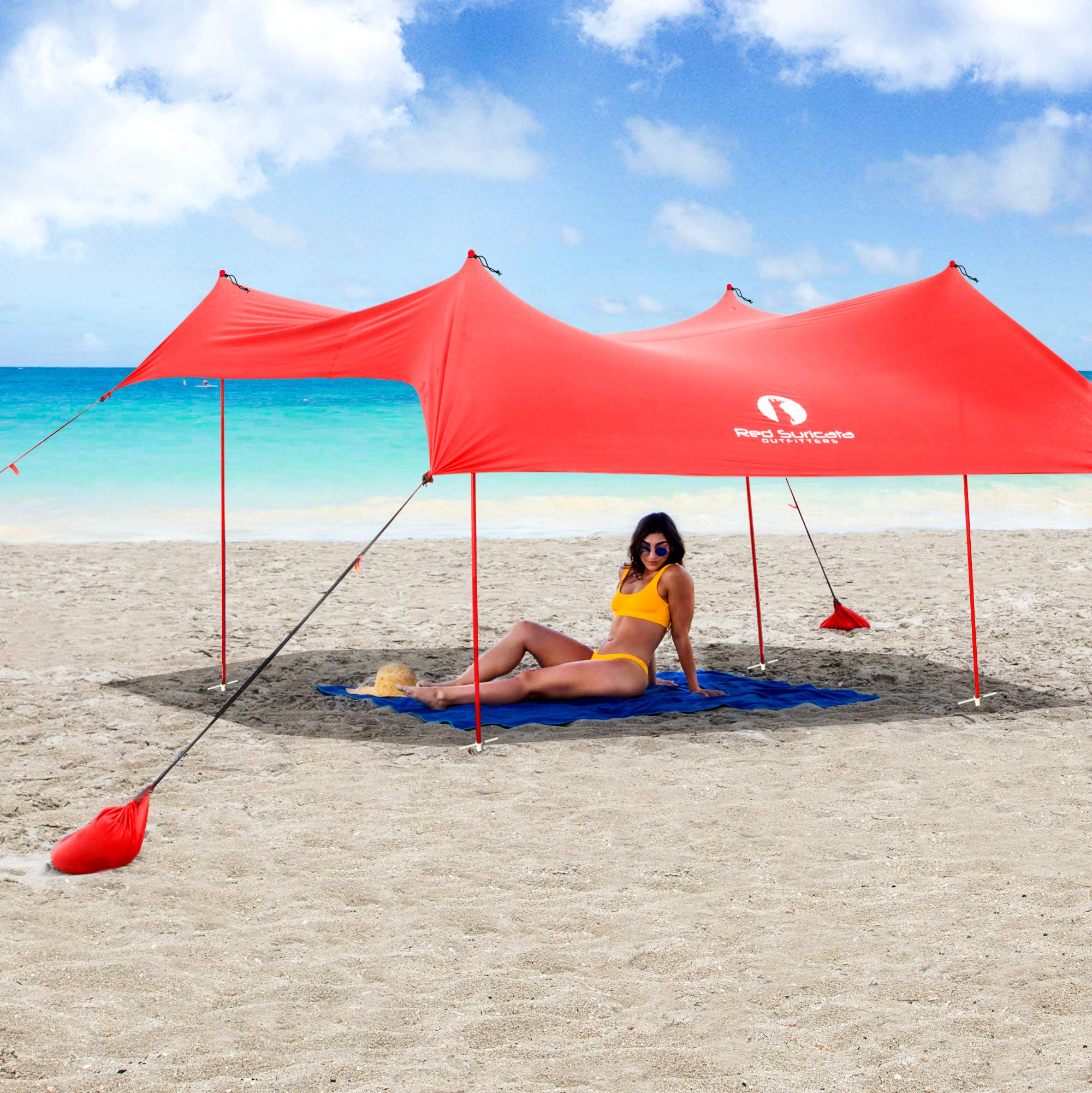 Red Suricata Family Beach Sunshade - Sun Shade Canopy | UPF50 UV Protection | Tent with 4 Aluminum Poles, 4 Pole Anchors, 4 Sandbag Anchors | Large & Portable Shelter Tarp (Red, Medium) by Red Suricata